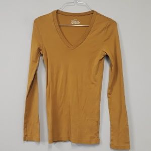 J. Crew Gold 100% Cotton Long Sleeve Tee Size XS